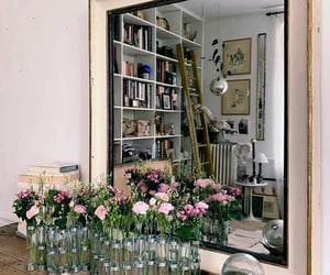 books, flowers, and home image