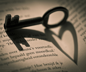 heart, book, and key image