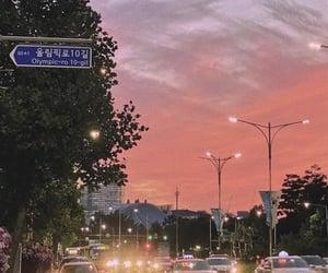 city, night, and orange image