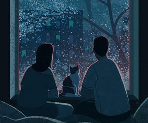 couple, snow, and cat. dark image