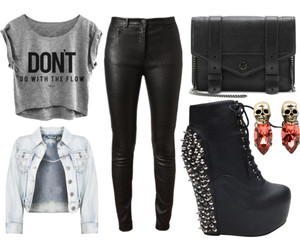 black, denim jacket, and fashion image