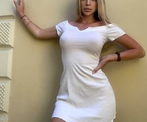 outfit, white, and bidy image