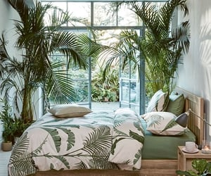 green, plants, and bedroom image