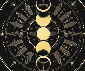 art, gold, and moon phases image