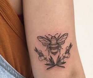 art, bee, and flowers image