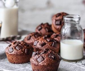 milk, muffin, and chocolate image