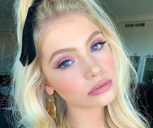 blonde hair, blue eyes, and model image