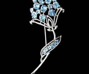Blue Rhinestone Brooch Long Stem Flower Silver Tone Signed image 0