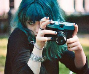 girl, photography, and blue hair image