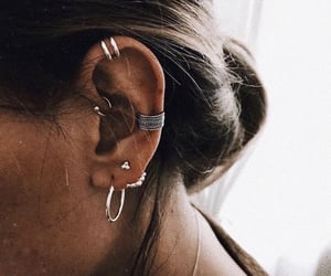 ear, gold, and piercing image