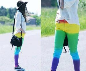 rainbow, jeans, and colors image