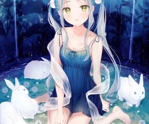 anime, anime girl, and blue background image