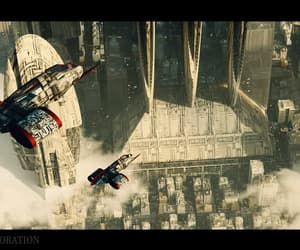aircraft, city, and science fiction image