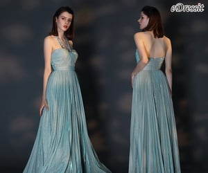 halter neck, green party dress, and pleated formal dress image