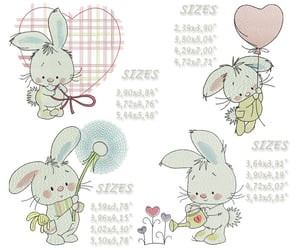 embroidery, funny rabbit, and bunny embroidery image