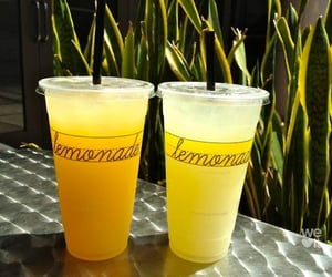 drink, lemonade, and yellow image