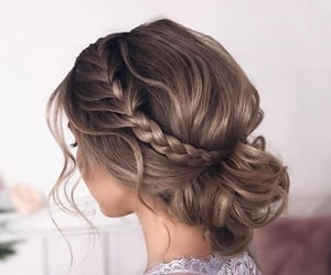 braids, hair, and hair bun image