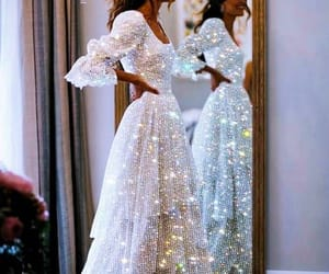 dress, hair, and wedding image