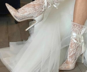 bride, lace socks, and fashion image