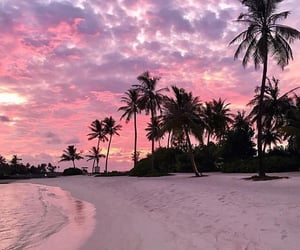 beach, travel, and pink image