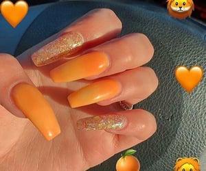 nails, orange, and glitter image