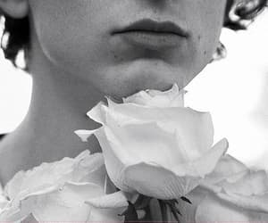 boy, flowers, and monochrome image