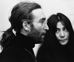 john lennon, Yoko Ono, and black and white image