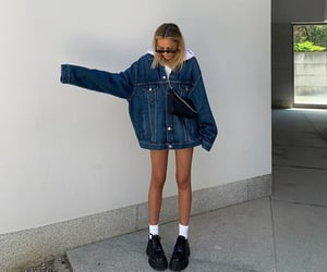 black shoes, oversized jean jacket, and cute outfit image