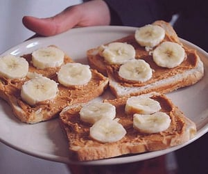 banana, food, and peanut butter image