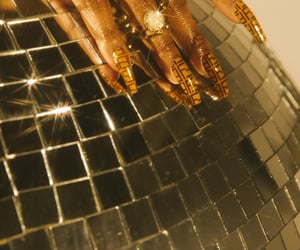 aesthetic, nails, and gold image