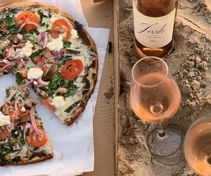 pizza, wine, and food image