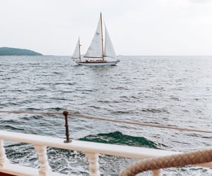 beach, ocean, and sailing image
