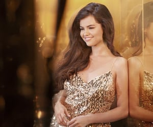 dress, gold, and selena gomez image
