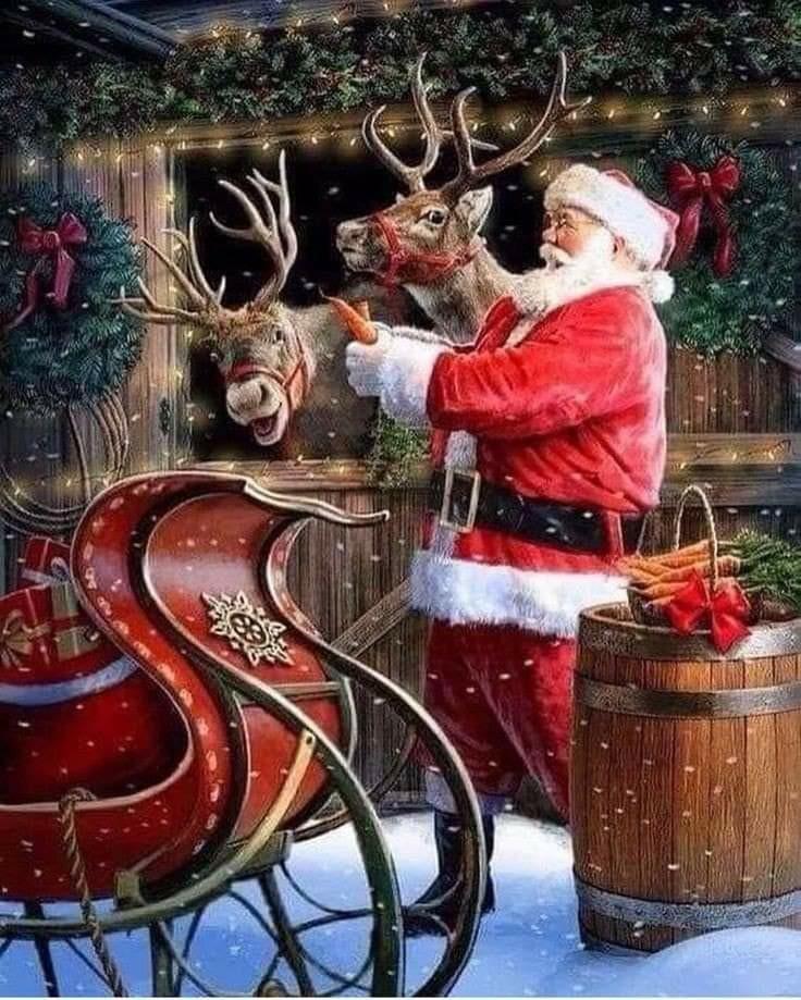 christmas, santa claus, and christmas deer image