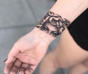 hand, medusa, and tattoo image