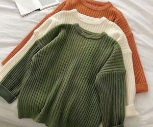 autumn winter, closet warm jerseys, and beige orange green image