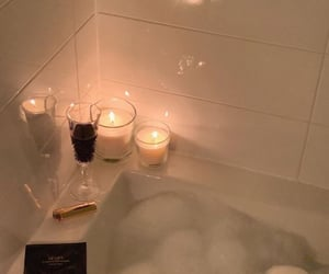candle, bath, and bubbles image