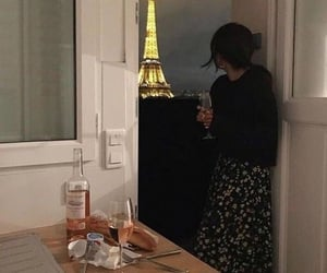 paris, night, and wine image