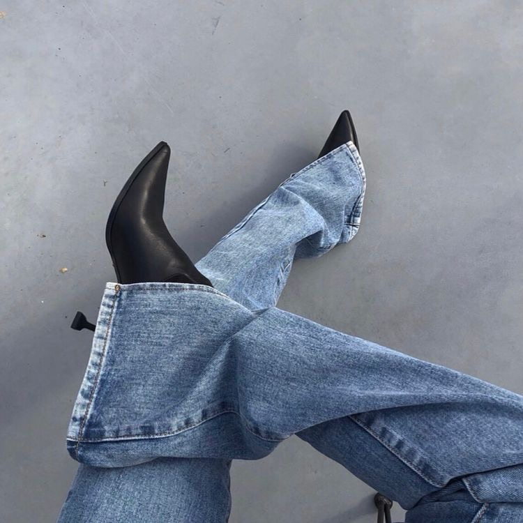 fashion, boots, and denim image