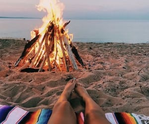 beach, bonfire, and chilling image