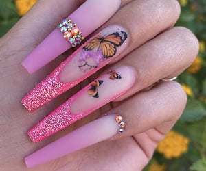 butterfly, nails, and nailart image