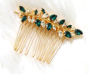 etsy, rhinestone hair comb, and hair accessories image