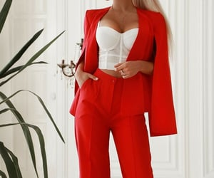 fashion, red, and women's pants image