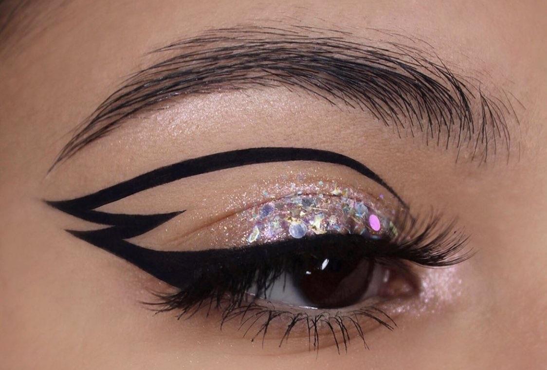 black, eyes, and glitter image