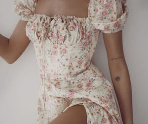 aesthetics, dress, and flower print image