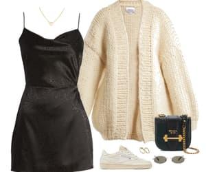 bag, cardigan, and dress image