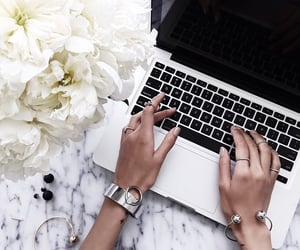 flowers, laptop, and apple image