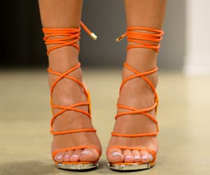 heels, orange, and shoes image