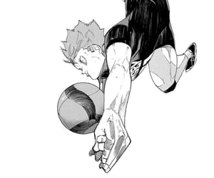 black and white, manga, and volleyball image