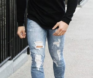 black, jacket, and ripped jeans image